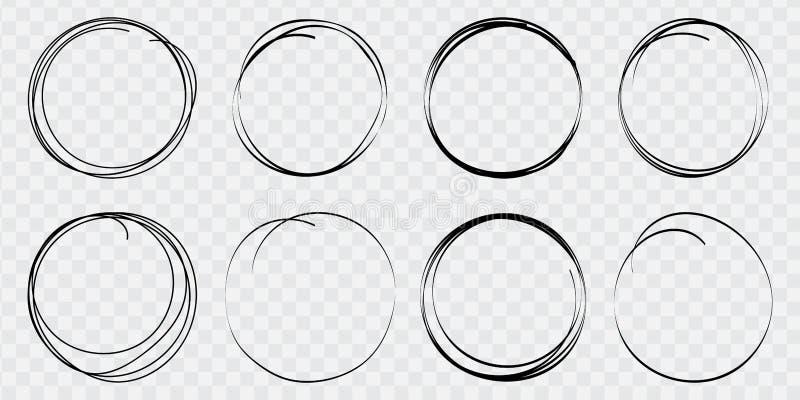 Линия набор круга руки вычерченная эскиза Круглые поля вектора сочинительства, круги для сообщений покрашенных с ручкой или каран иллюстрация вектора