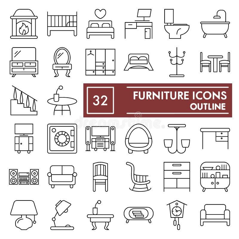 Линия набор мебели тонкая значка, внутренние символы собрание, эскизы вектора, иллюстрации логотипа, домашние знаки линейные иллюстрация вектора