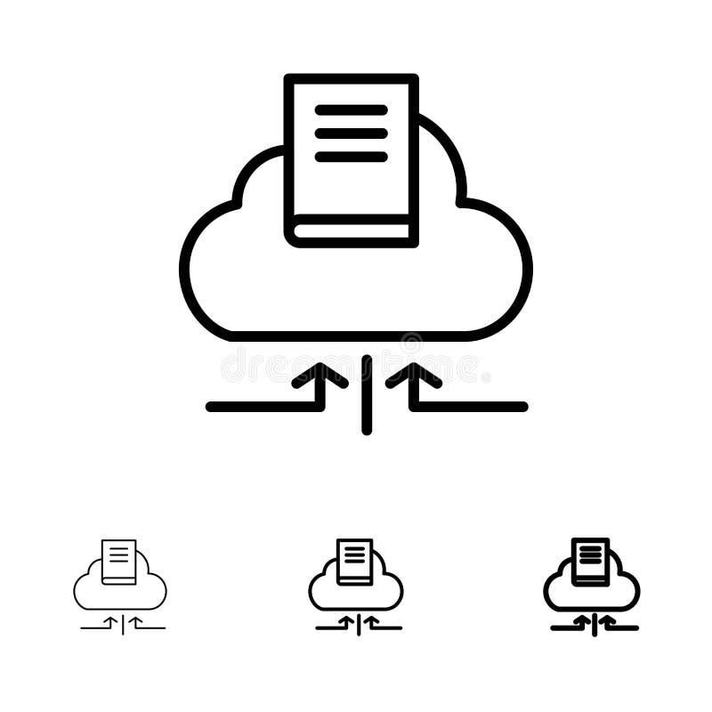 Линия набор облака, стрелки, книги, тетради смелая и тонкая черная значка иллюстрация вектора