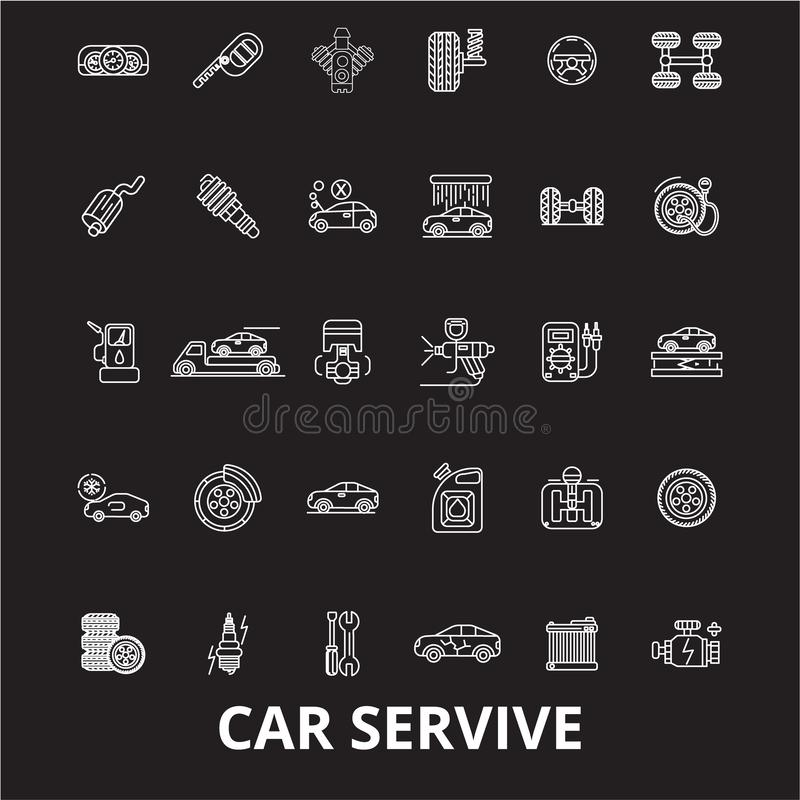 Линия набор обслуживания автомобиля editable вектора значков на черной предпосылке Иллюстрации плана обслуживания автомобиля белы бесплатная иллюстрация