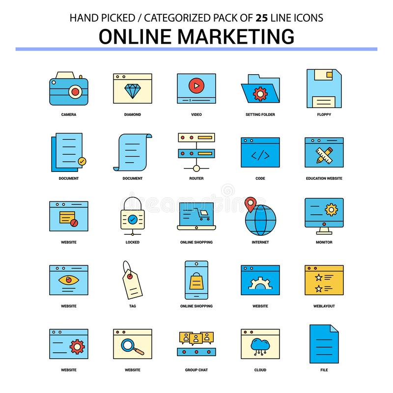 Линия набор онлайн маркетинга плоская значка - Des значков концепции дела иллюстрация вектора