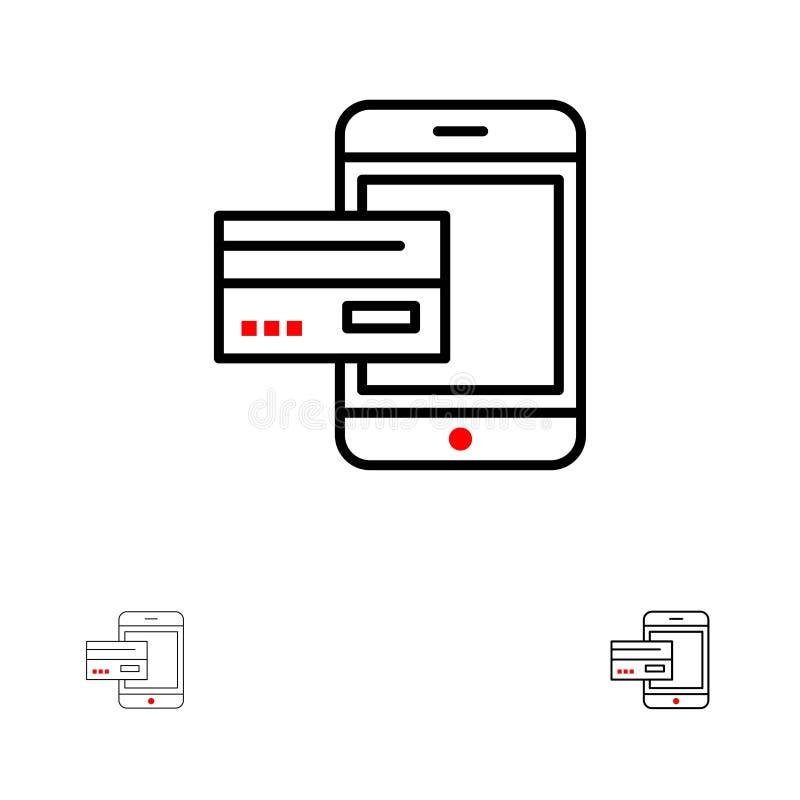 Линия набор оплаты, банка, банка, карты, кредита, черни, денег, смартфона смелая и тонкая черная значка иллюстрация штока