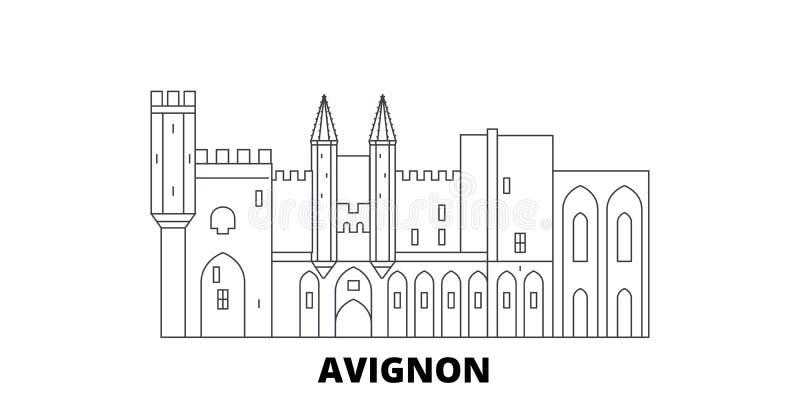 Линия набор ориентира Франции, Авиньона горизонта перемещения Иллюстрация вектора города плана ориентира Франции, Авиньона, симво иллюстрация штока