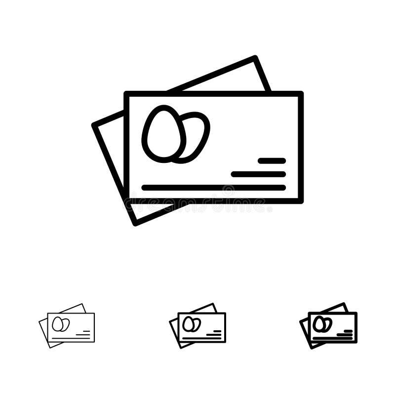 Линия набор паспорта, яйца, пасхи смелая и тонкая черная значка бесплатная иллюстрация