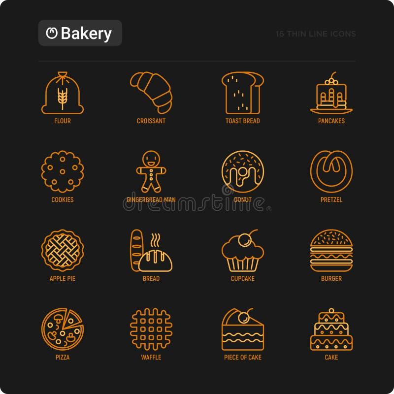 Линия набор пекарни тонкая значков: хлеб тоста, блинчики, мука, круассан, донут, крендель, печенья, человек пряника, пирожное, бу иллюстрация штока