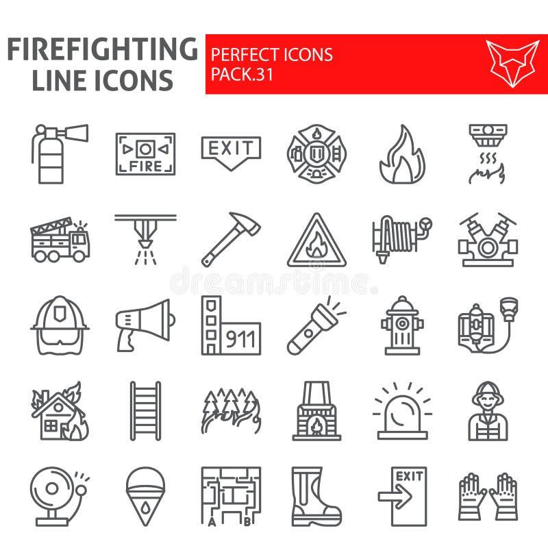 Линия набор пожарного значка, символы собрание пожарного, эскизы вектора, иллюстрации логотипа, знаки пожарной безопасности линей иллюстрация вектора