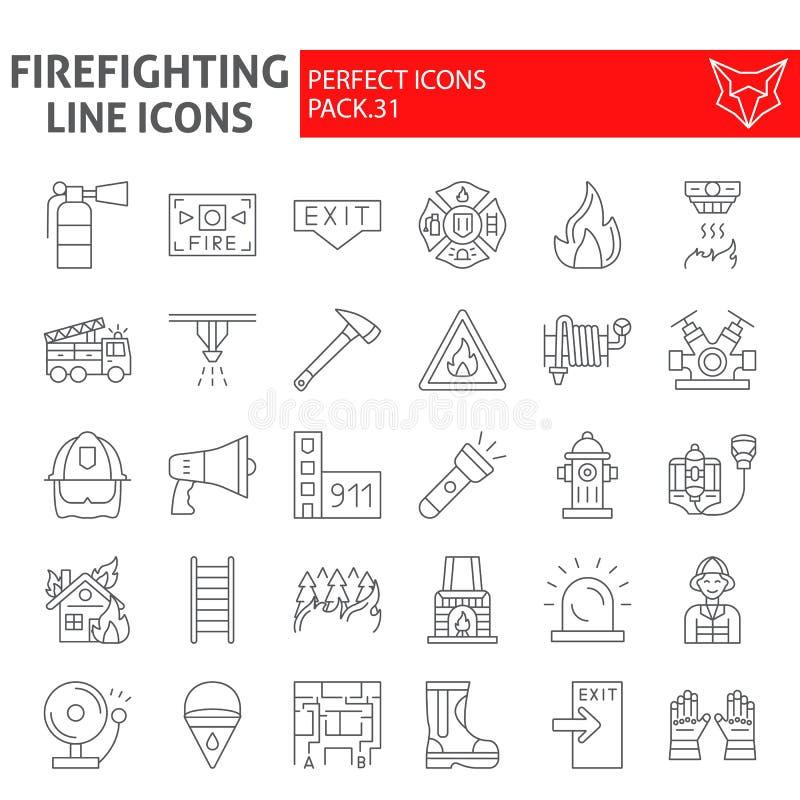 Линия набор пожарного тонкая значка, символы собрание пожарного, эскизы вектора, иллюстрации логотипа, знаки пожарной безопасност иллюстрация вектора