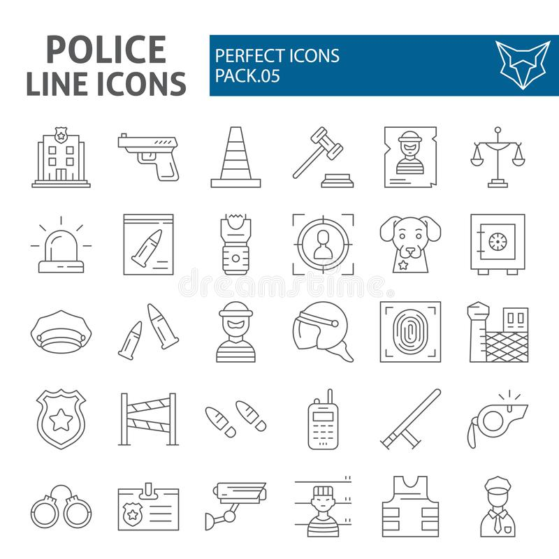 Линия набор полиции тонкая значка, символы собрание безопасностью, эскизы вектора, иллюстрации логотипа, знаки безопасности линей иллюстрация вектора