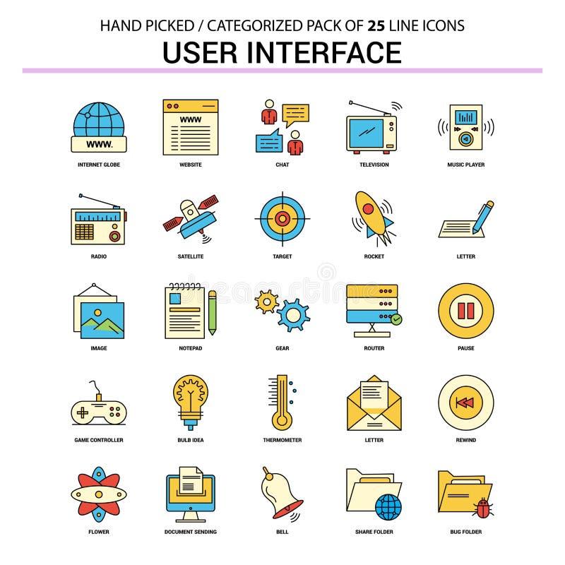 Линия набор пользовательского интерфейса плоская значка - значки Desi концепции дела иллюстрация вектора