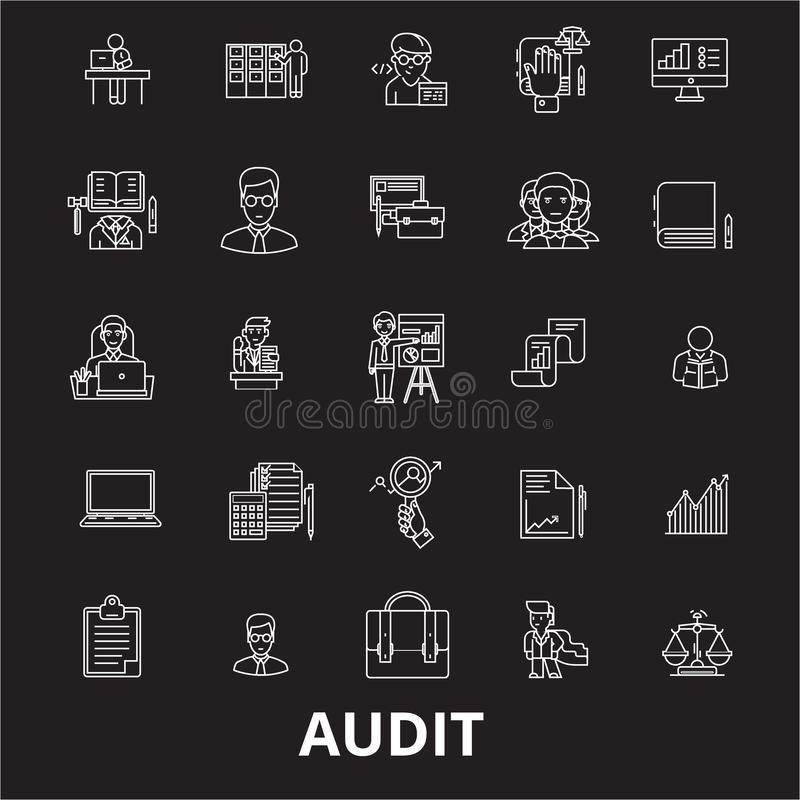 Линия набор проверки editable вектора значков на черной предпосылке Иллюстрации плана проверки белые, знаки, символы иллюстрация штока