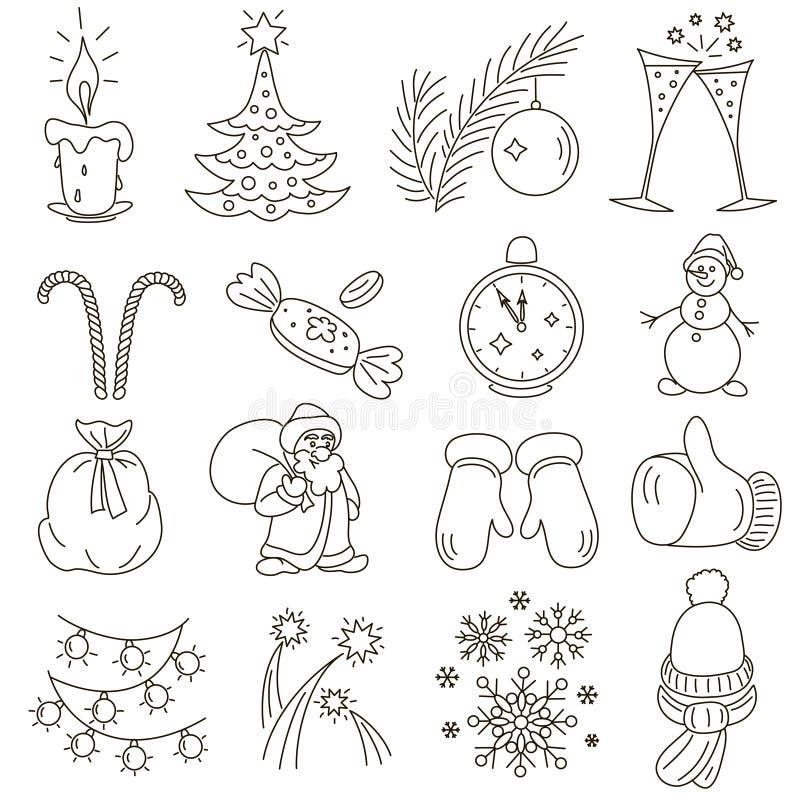 Линия набор рождества или Нового Года стиля иллюстрация штока
