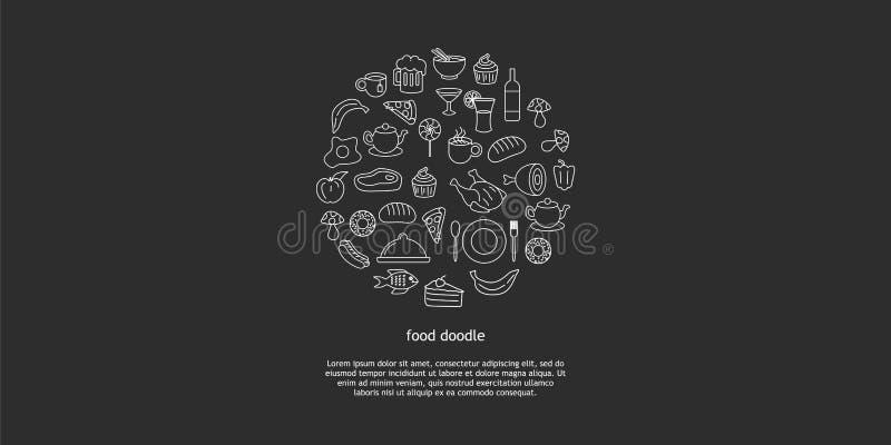 Линия набор руки вектора искусства вычерченный объектов, символов и деталей doodle мультфильма высококалорийной вредной пищи Круг иллюстрация штока