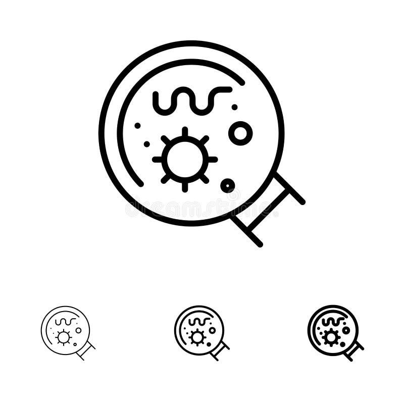 Линия набор семенозачатков, лаборатории, увеличителя, науки смелая и тонкая черная значка иллюстрация вектора