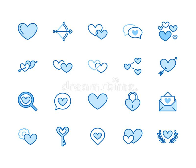 Линия набор сердца плоская значков Любовь, датируя иллюстрации вектора места 2 сердцами формирует, романтичная дата, частное сооб иллюстрация вектора