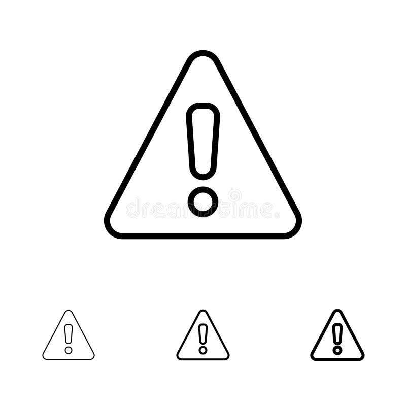 Линия набор сигнала тревоги, опасности, предупреждения, знака смелая и тонкая черная значка бесплатная иллюстрация