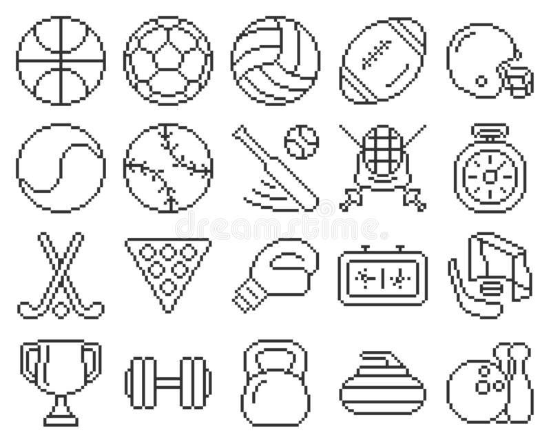 Линия набор спорта значков пиксела бесплатная иллюстрация