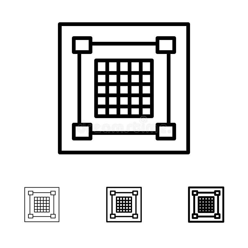 Линия набор творческих, дизайна, дизайнера, графика, решетки смелая и тонкая черная значка иллюстрация штока