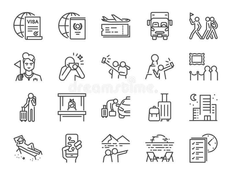 Линия набор туризма значка Включенные значки как турист, проводник, путешественник, каникулы и больше иллюстрация вектора