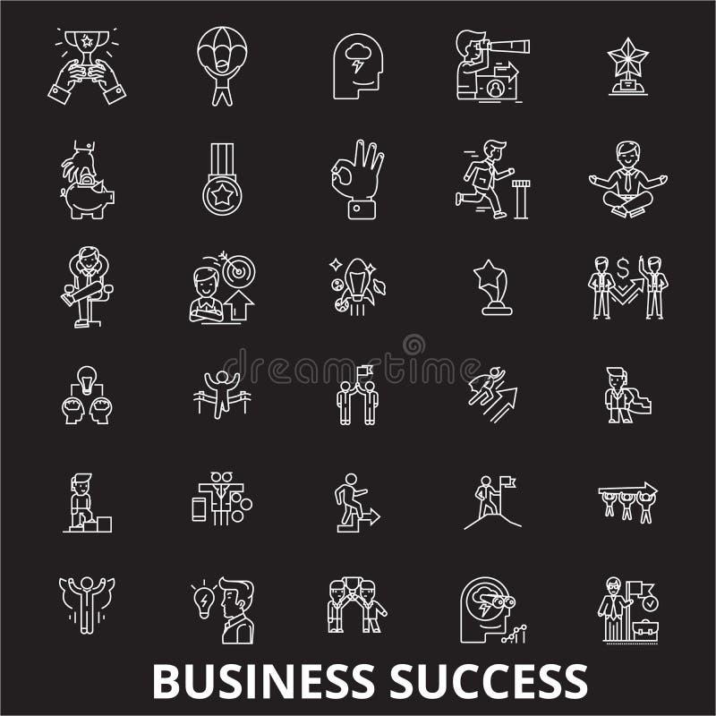 Линия набор успеха в бизнесе editable вектора значков на черной предпосылке Иллюстрации плана успеха в бизнесе белые, знаки бесплатная иллюстрация