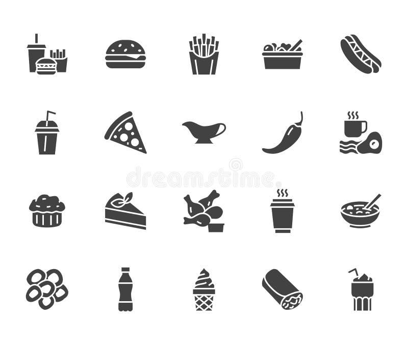 Линия набор фаст-фуда плоская глифа Бургер, комбинированный обед, французский картофель фри, хот-дог, соус, салат, суп, вектор пи иллюстрация вектора
