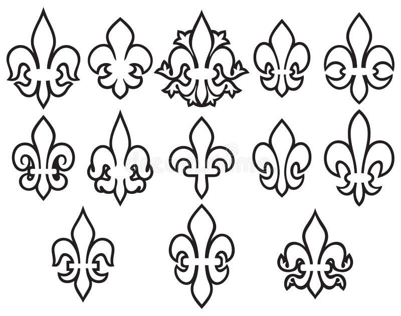 Линия набор цветков лилии тонкая значков бесплатная иллюстрация