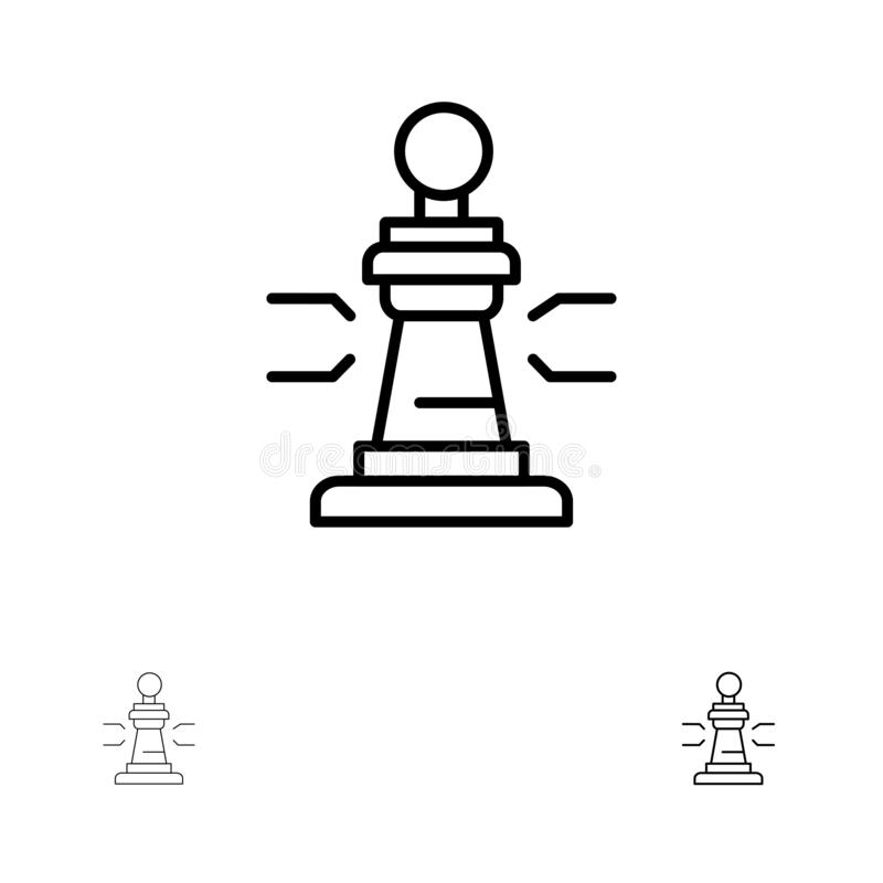 Линия набор шахмат, игры, игрока, короля, покера смелая и тонкая черная значка бесплатная иллюстрация