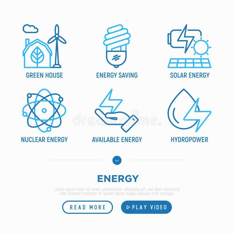 Линия набор энергии тонкая значков бесплатная иллюстрация