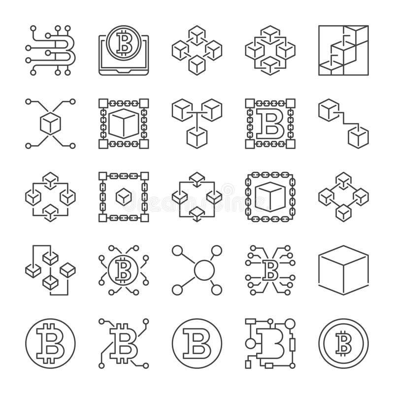 Линия набор Blockchain вектора значков - знаки концепции Блок-цепи иллюстрация вектора