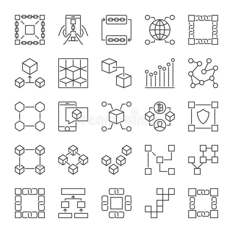 Линия набор Blockchain значков Знаки концепции цепи блока вектора бесплатная иллюстрация