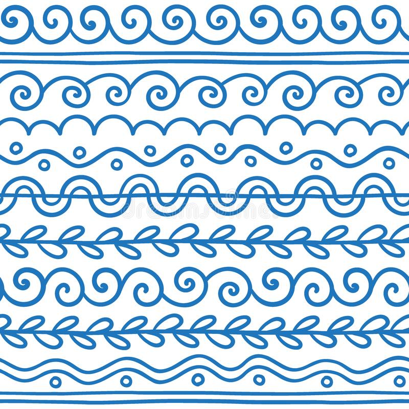 Линия нарисованная рукой вектора комплект и scribble границы конструирует элемент иллюстрация штока