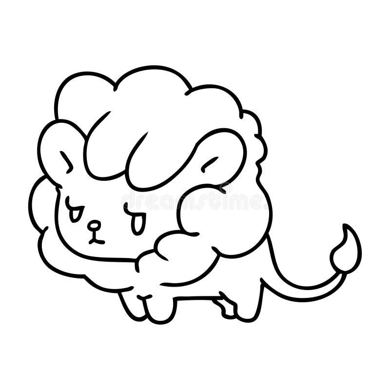 линия новичок льва kawaii чертежа милый иллюстрация вектора