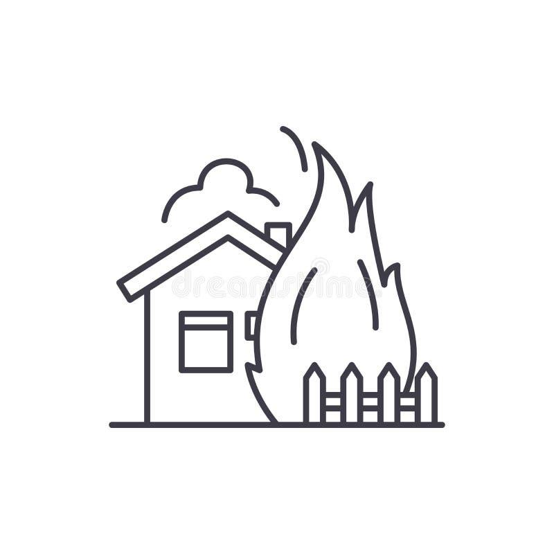 Линия огня концепция дома значка Иллюстрация вектора огня дома линейная, символ, знак иллюстрация штока