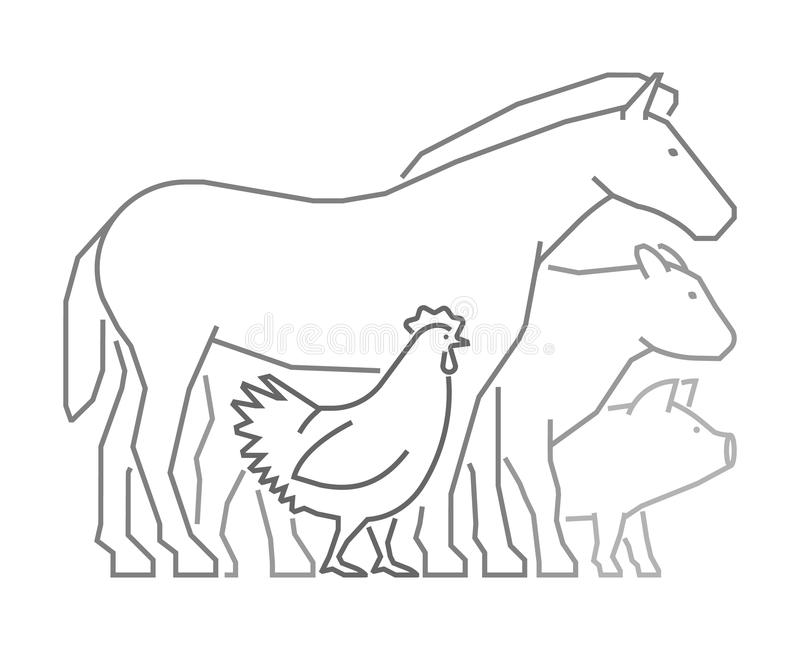 Линия логотип для рынка фермеров Животноводческие фермы плана вектора иллюстрация штока