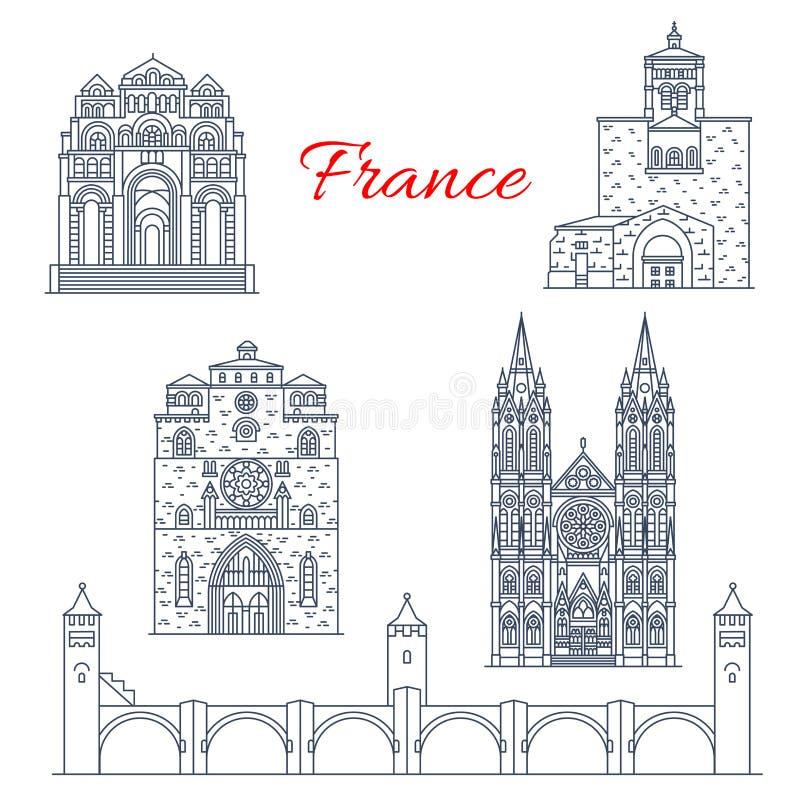 Линия ориентир ориентиры вектора Франции Clermont или Шампани бесплатная иллюстрация