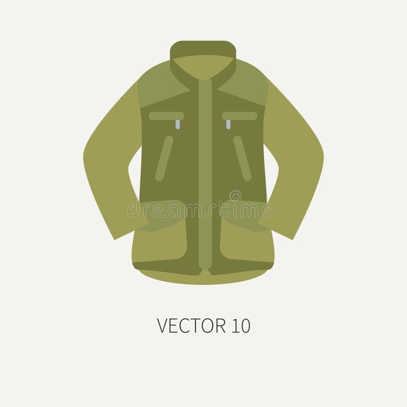 Линия охота вектора цвета плитки и располагаясь лагерем куртка значка хаки Оборудование охотника, вооружение Ретро стиль шаржа wi иллюстрация вектора