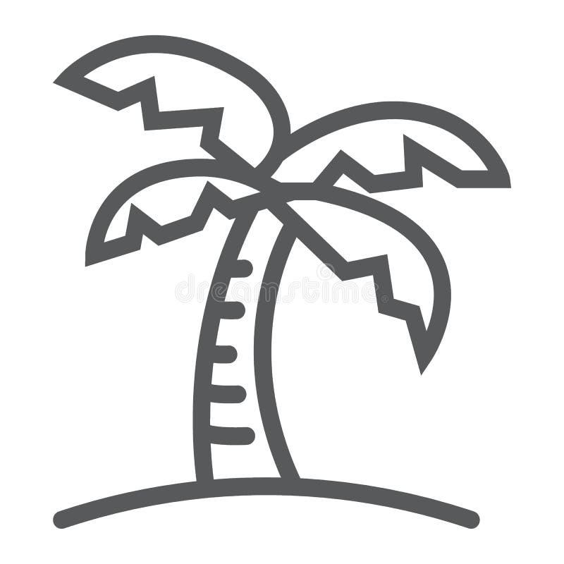 Линия пальмы значок, перемещение и туризм иллюстрация штока