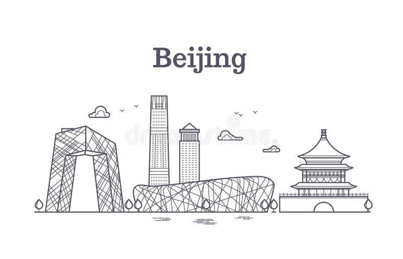 Линия панорамная иллюстрация Китая Пекина вектора горизонта иллюстрация штока