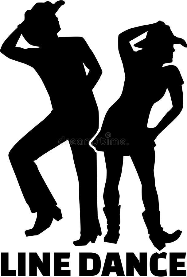 Линия пара танца с словом иллюстрация вектора