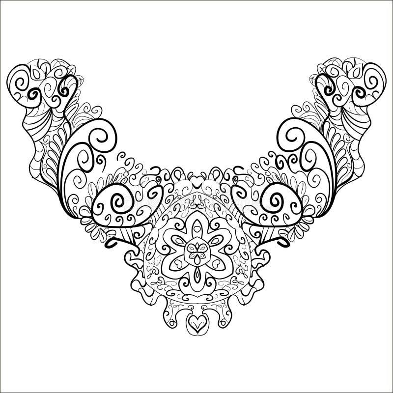 Линия печати печать шеи шеи дизайна декоративная черная иллюстрация вектора