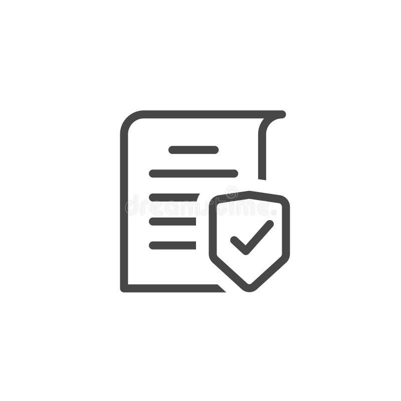 Линия план концепции предохранения от документа искусства, конфиденциальная информация и идея уединения, доступ документации безо иллюстрация штока