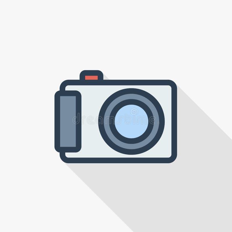 Линия плоский значок камеры фото цифров тонкая цвета Линейный символ вектора Красочный длинный дизайн тени иллюстрация вектора