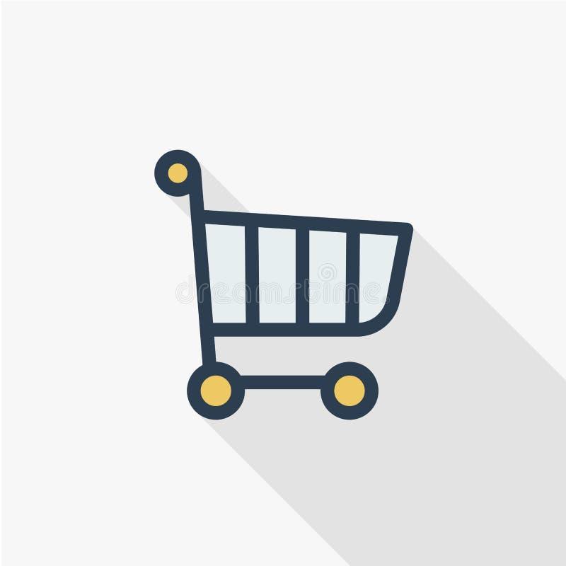 Линия плоский значок магазинной тележкаи тонкая цвета Линейный символ вектора Красочный длинный дизайн тени бесплатная иллюстрация