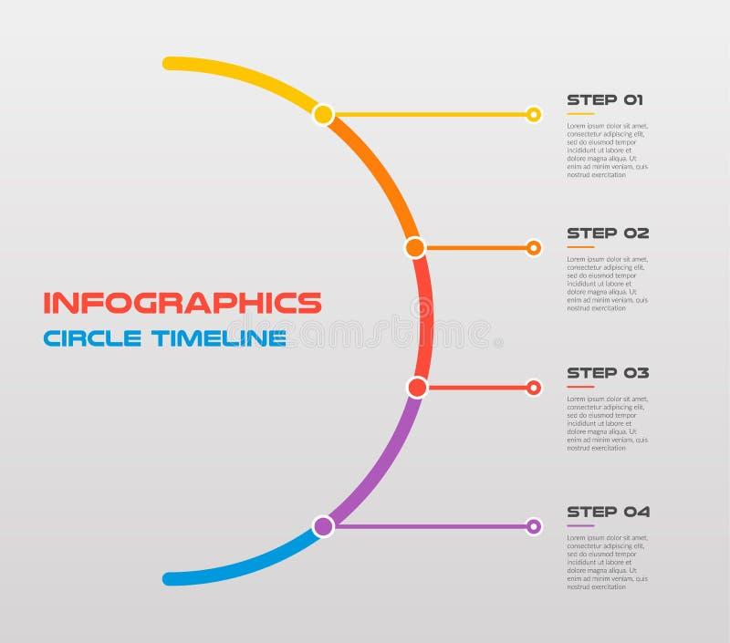 Линия плоский круг для infographic Шаблон для диаграммы цикла, диаграммы, представления Концепция дела с 4 вариантами бесплатная иллюстрация