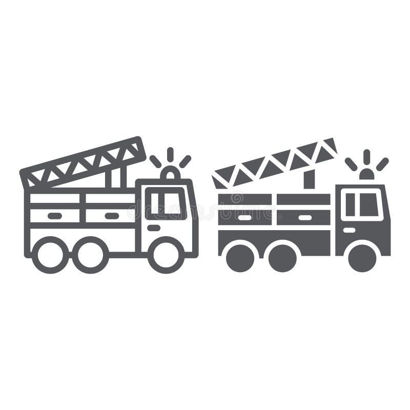 Линия пожарной машины и значок глифа, переход и аварийная ситуация, знак автомобиля пожарного, векторные графики, линейная картин иллюстрация вектора