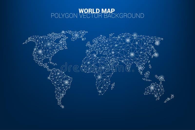 Линия полигон соединения точки карты мира: концепция цифрового мира, информационного соединения иллюстрация штока
