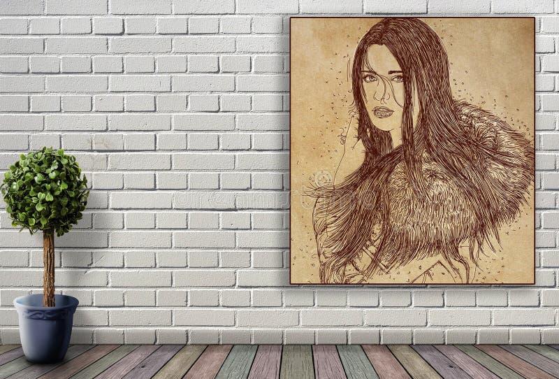 Линия портрет женщины вися на кирпичной стене стоковая фотография rf