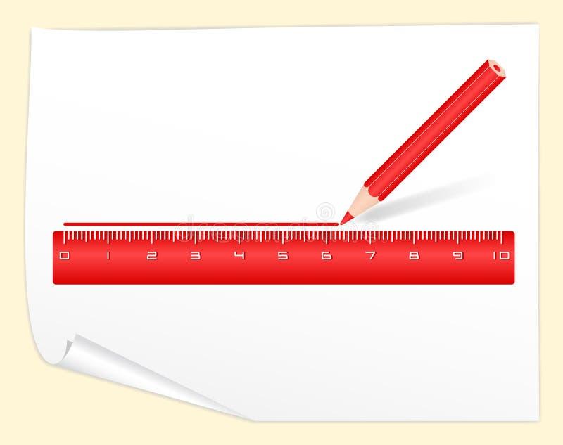 линия правило чертежа красного цвета карандаша иллюстрация вектора