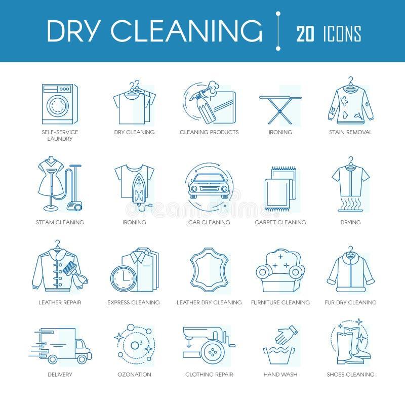Линия прачечной вектор химической чистки значков установила для типов, автомобиля или ковров одежды иллюстрация штока
