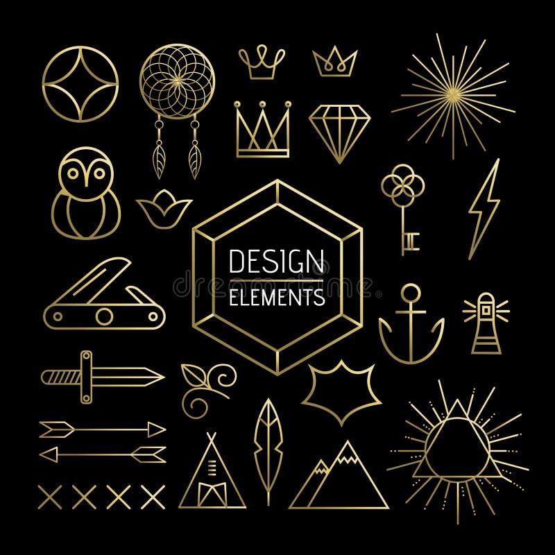 Линия природа золота boho комплекта элементов плана искусства иллюстрация штока