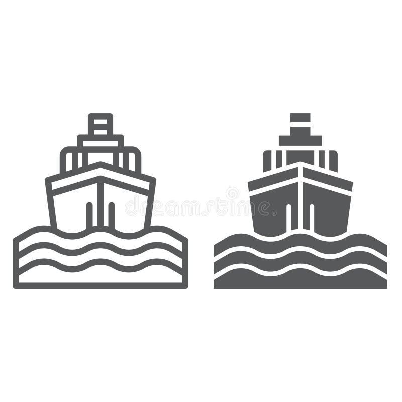 Линия прогулки на яхте яхты и значок глифа, путешествие и круиз, знак корабля, векторные графики, линейная картина на белом иллюстрация вектора